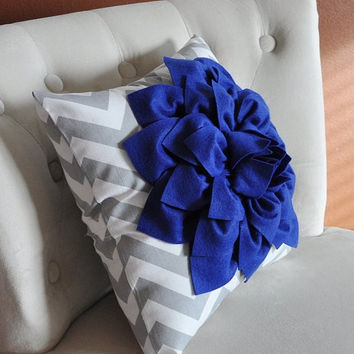 MOTHERS DAY SALE Royal Blue Dahlia on Gray and White Zigzag Pillow -Chevron Pillow-