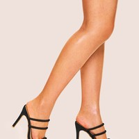 Open Toe Strappy Suede Stiletto Heels