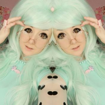 Minty Cupcake, Mint Green Beehive Curls Wavy Gothic Lolita Cosplay Wig