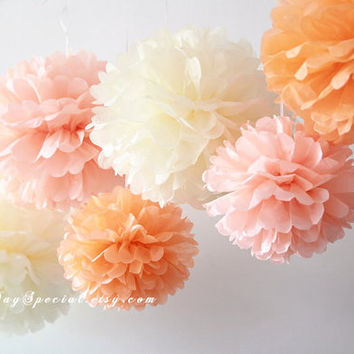 Warm Sunset | 6 tissue paper pom poms | Baby shower Wedding party Nursery Room Decoration