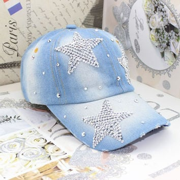 Five Point Stars Rhinestone Baseball Cap