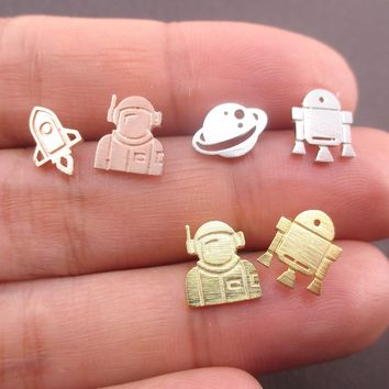 Space Themed Astronaut Saturn Spaceship Shaped Sterling Silver Stud Earrings