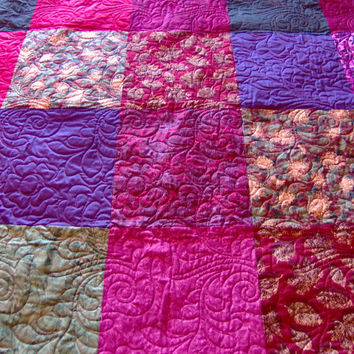 Lap Quilt Autumn Colors, Traditional Patchwork Quilt, Cotton Sateens Quilt, Leaf Fabrics Quilt, Fall Colors Quilt, Green Purple Throw Quilt