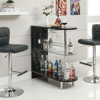 Home bar unit modern style black high gloss finish bar unit with tempered glass shelves and chrome accents