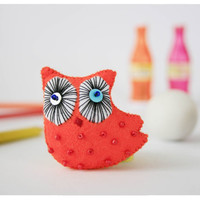 owl brooch - orange owl pin brooches