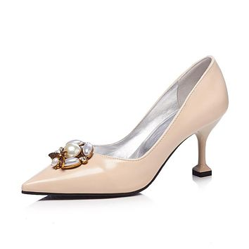 Pointed Toe Pearls High Heel Pumps Shoes Woman 9971