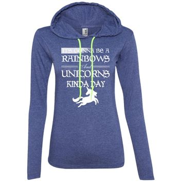 It's Gonna be a Rainbows and Unicorns black and white 887L Anvil Ladies' LS T-Shirt Hoodie