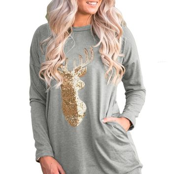 Chicloth Sparkling Gold Sequin Reindeer Grey Christmas Top