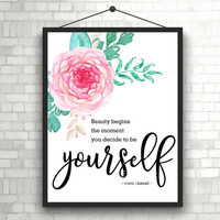 Be Yourself | Coco Chanel | Beauty in you | Art Print | Inspiration | Home Decor Print | Printable | Typography | Motivation Quote