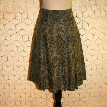Boho Skirt India Block Print Linen Silk Skirt Full Skirt Medium Olive Green Midi Skirt Banana Republic Womens Skirts Womens Clothing
