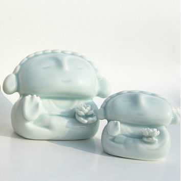 Buddha (L) : Ceramic Sculpture with lotus for Garden Decor / Gift for Buddhist~ peaceful and harmonious #Pale Aqua