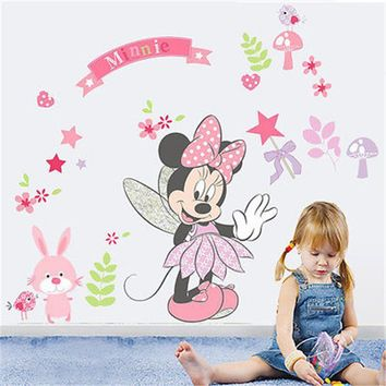 2017 NEW Cartoon Beautiful Minnie Mouse Wall Decals Sticker Vinyl Mural DIY Girls Bedroom Decor