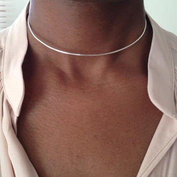 Sterling Silver Choker Necklace Collar Necklace Edgy Necklace Adjustable Necklace UK Shop