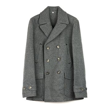 Hardy Amies Men's Grey Wool Blend Double Breasted Coat