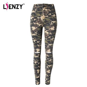 LIENZY Summer Casual Women Camouflage Jeans High Waist Ripped Skinny Army Knee Cut off Pencil Denim Pants Bottom