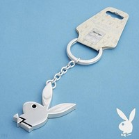 Playboy Key Chain Keychain Key Ring Rabbit Head Design Bunny Logo Charm Pendant Novelty Unisex Collectible Authentic Licensed Accessory CPBKC106