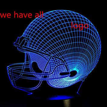 Rugby Cool New 2017 3D Dallas Cowboy Helmet 3D LED Night light Kid Sleep Bulb Touch Table Desk Lamp Xmas New Year Birthday Gift