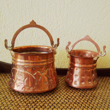 Vintage copper pots, Greek folk art, hammered, copper pots with brass, with movable handles, rustic decor pots, set of two, early sixties