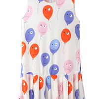 White Contrast Funny Smiling Balloon Print Pleated Hem Dress