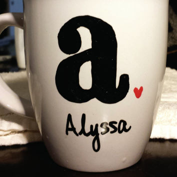 Custom Initial Name or Bride/Bridesmaid 14 oz Mug Solid/Striped Letter, Red/Pink Heart Multiple Options!