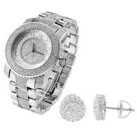 Fully Iced Out White Gold Finish Men's Techno Pave Watch & Cluster Earrings Combo
