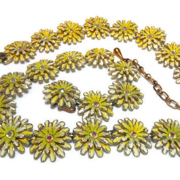 Kramer 1950s yellow flowers choker bracelet set with AB rhinestone centers
