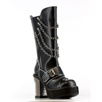 Hades Shoes H-Krull Steampunk captain boots with stitched inner front