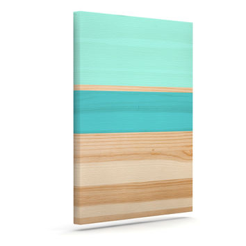 "KESS Original ""Spring Swatch - Blue Green"" Teal Wood Canvas Art"