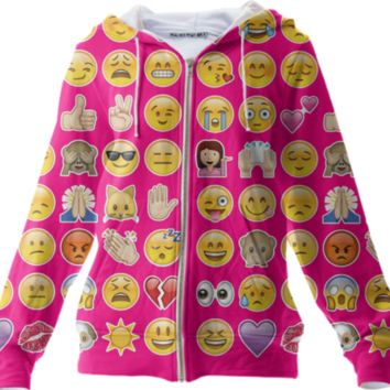 pink emoji hoodie jacket created by GossipRag | Print All Over Me