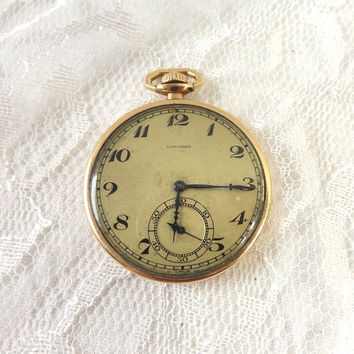 Vintage 1920 Longines Pocket Watch 15 Jewels, Deco 14K GF Wadsworth Case, Runs