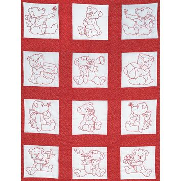 "Baby Bears Jack Dempsey Stamped White Nursery Quilt Blocks 9""X9"" 12/Pkg"
