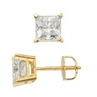 Felt Noir - Boutique Digital Jeweler Felt Noir's 1ct Certified Princess Cut Stud Earrings in 14K Gold