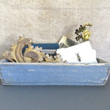 Antique Folk Art Cutlery Box - c. 1800 Primitive Tray with Original Blue Gray Paint - Victorian Antique Caddy