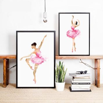Watercolor Ballerina In Dance Art Print Wall Picture , Ballet Decor Wall Art Print Poster Canvas Painting