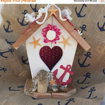 SUMMER SALE Nautical Home Decor, Pink & White Nautical decor, Unique Nautical Birdhouse, Beach Sea Nautical themes, Sea Gift or Decor Item