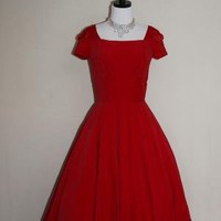 Vintage RICH RED Velvet FULL SKIRT Party by VintageFrocksOfFancy