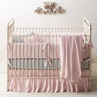 Pintucked Bow & Trellis Print Nursery Bedding Collection