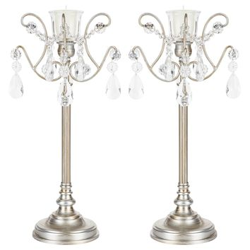 2-Piece Metal Candlestick Candelabra Set with Glass Crystals (Silver)
