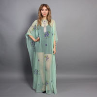 70s CAFTAN DRESS / Sheer Mint Green Floral Draped Chiffon Maxi