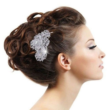 Vintage Style Wedding Bridal Hair Comb, Wedding Hair Accessories Crystal Hiar Comb Peacock Feathers Comb Bridal Hair Jewelry LL0