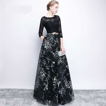 Half Sleeves Bow Floral Print Elegant Lace A-line Zipper Dinner Party Frocks Dress Floor Length Evening Dress