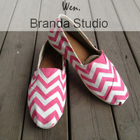 PINK Chevron,Chevron,New Style Chevron Shoes,Studio Hand Painted Shoes Custom Shoes,Canvas Shoes,100% Hand Painting-Wen's fashion shoes-Flat