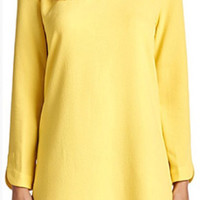 Long Sleeve Shift Dress. - Yellow