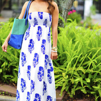 Violets Are Blue Maxi Dress: White   Hope's