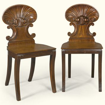 A pair of Regency mahogany hall chairs, circa 1820, attributed to Gillows | lot | Sotheby's