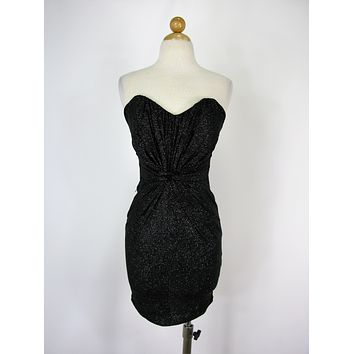 Lipsy London Strapless Ruched Black Sparkle Cocktail Dress 2