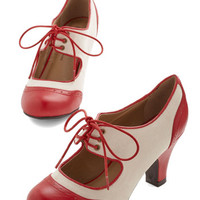 ModCloth Vintage Inspired The Best of Times Heel in Red