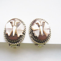 Navajo Mother of Pearl Butterfly Sterling Clip On Earrings