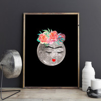Dorm room decorations, College dorm decor, Full moon poster, Moon wall decor Moon wall art, Frida Kahlo poster Frida Kahlo print Frida Khalo