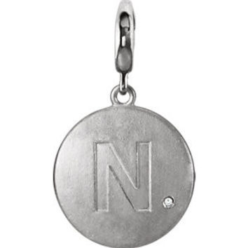 "Sterling Silver Block Initial ""Y"" Disc Charm with .005 CTW Diamond Accent"